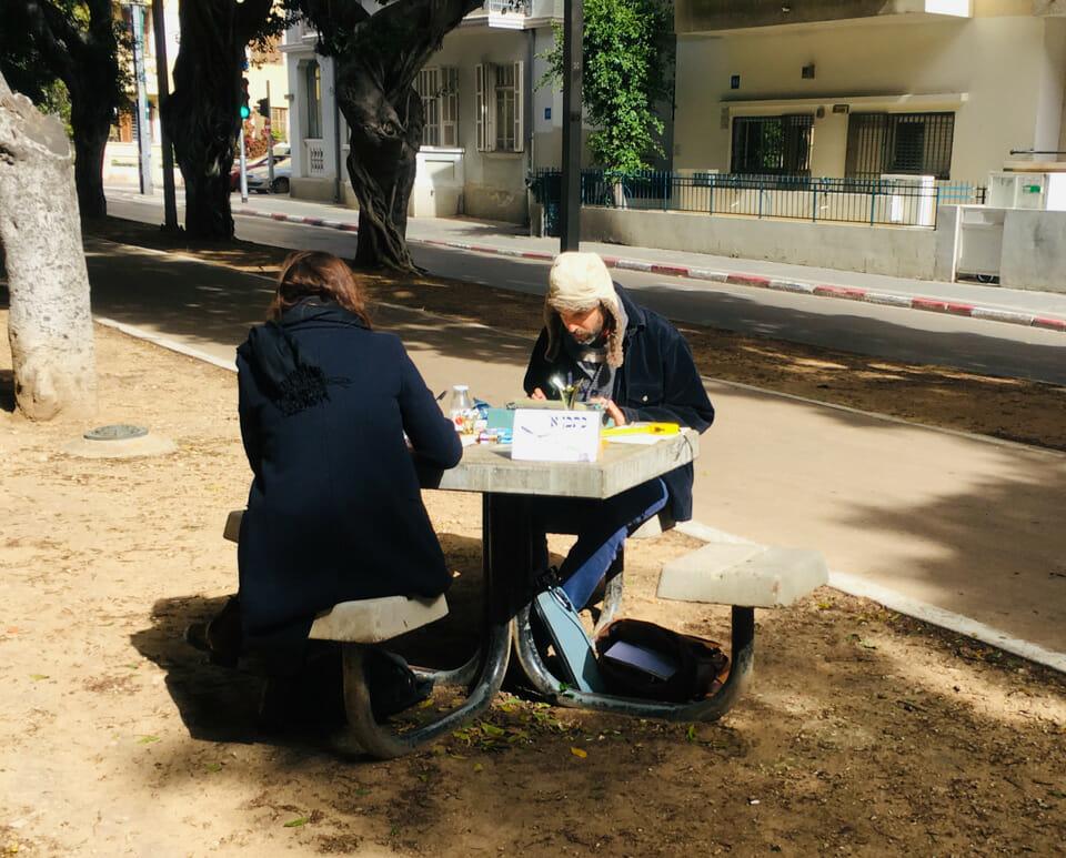 Schreibmaschinenmensch auf dem Rothschild Blv